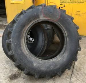 Ремонт бокового пореза методом горячей вулканизации тракторного колеса.